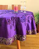 "Hand Painted Floral Round Tablecloth (Plum Purple, 70"" Round)"