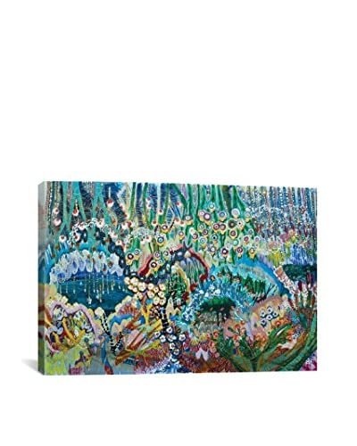 Lia Porto Gallery Brilliant Blackbirds On The Grass, Near The River Alta Canvas Print