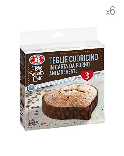 Rebecchi Set 6 Confezioni Teglietta Cuoricino