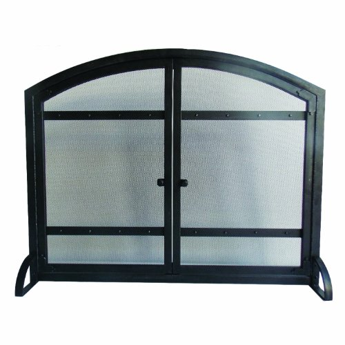 Pleasant Hearth Harper Arched Fireplace Screen with Doors (Antique Fireplace Screen compare prices)
