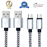 Android Charging Cable,Hankuke [2-Pack] Multi length and color Sturdy Nylon Fabric Braided High Speed Data Sync USB to Micro USB Cable (2m white)