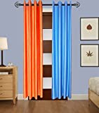 Indian Online Mall Plain Door Curtain (Pack of 2) - Orange and Sky Blue