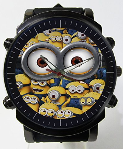 Hot Item Current Minions Blueish Glass Awesome Logo Custom Printed Sports Wrist Watch