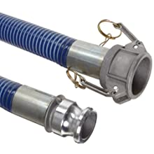 Goodyear EP Cold Blue PVC Suction/Discharge Hose Assembly, Aluminum Cam And Groove Couplings