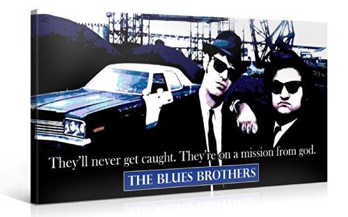 Gallery of Innovative Art - Blues Brothers - 100x50cm - Larga stampa su tela per decorazione murale - Immagine su tela su telaio in legno - Stampa su tela Giclée - Arazzo decorazione murale