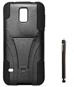 DMG Premium Kickstand Dual Hybrid Back Cover Case for Samsung Galaxy S5 G900 (All Black) + Griffin Stylus