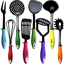 "Kitchen Utensils Cooking Set by Chefcooâ""¢ Includes 8 Pieces Non-stick Cookware Gadgets - Masher, Spaghetti Server, Skimmer, Soup Ladle, Fish Slotted Turner, Whisk, Turner, Fork"