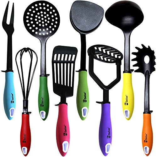 Kitchen Utensils Cooking Set by Chefcoo™ Includes 8 Pieces Non-stick Cookware Gadgets - Masher, Spaghetti Server, Skimmer, Soup Ladle, Fish Slotted Turner, Whisk, Turner, Fork (Cookware Utensil Set compare prices)