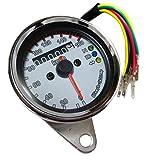 汎用 機械式 スピード メーター 白 ホワイト 160km ミニ インジケーター 60φ シンプル LED
