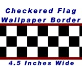 Checkered Flag Cars Nascar Wallpaper Border-4.5 Inch (Red Edge)