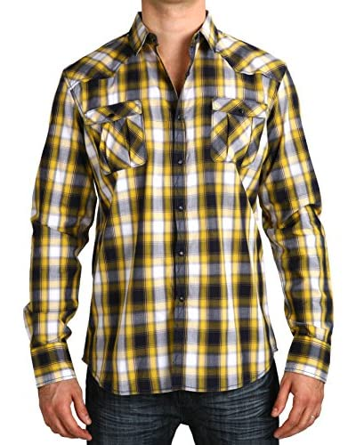 Micros Men's Wildflowers Long Sleeve Plaid Shirt with Snaps