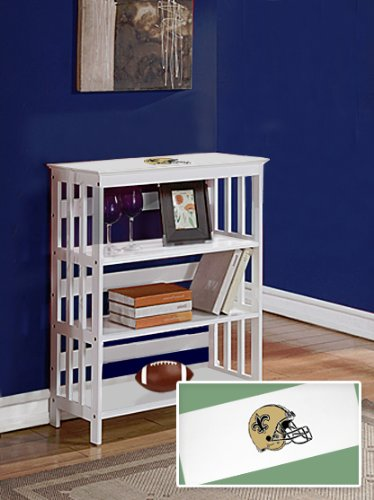 New White Finish Book Shelf Sofa Table featuring New Orleans Saints NFL Team Logo at Amazon.com