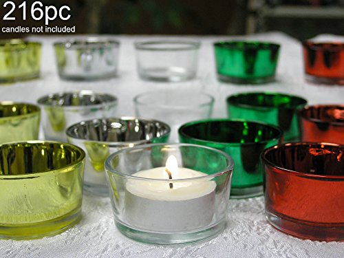 Tea Light Holders -- Red Glass, Green Glass, Silver Glass, Gold Glass, Clear Glass -- Metallic Color -- Bulk Set Of 216 -- Christmas Parties, Weddings, Receptions, Parties, Promotional Events