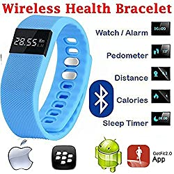 Evana (get free TTL/Trusttel Branded mobile pouch) TW64 OLED Display Bluetooth 4.0 Waterproof Smart Bracelet Watch, Support Pedometer / Sleep Monitoring / Call Reminder / Clock / Remote camera / Anti-lost Function, Compatible with iOS and Android System Watches for men women (Blue)