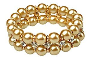 HONEYJOY Women Classical Two Rows Beads Bracelet Simulate Waterfresh Pearl Strand Jewelry