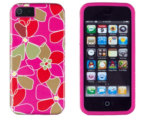 DandyCase 2in1 Hybrid High Impact Hard Pink & Red Floral Pattern + Pink Silicone Case Cover For Apple iPhone 5S & iPhone 5 + DandyCase Screen Cleaner