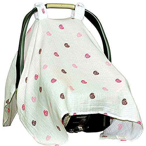 Cozy Baby Car Seat Covers XL To For Longer Sleep. Muslin Canopy Protect From Dust & Allergens. (Baseball Car Seat Cover compare prices)