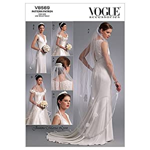 Vogue Patterns V8569 Headpieces, Tiara and Bridal Veils, One Size