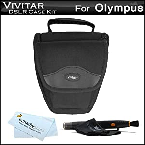 Vivitar Rugged Large Zoom DSLR Holster Case / Bag Kit For Olympus TG-1 iHS, TG-1iHS, PEN E-P3, E-PL3, E-PM1, E-PL2, E-PL1, E-P2 Micro Four Thirds Interchangeable Lens Digital Camera Includes Vivitar Rugged Large Zoom DSLR Holster Case + LensPe