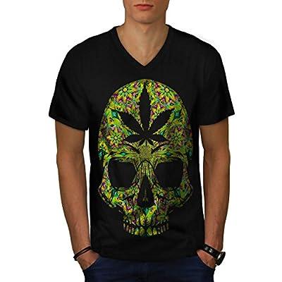 Cannabis Skull Head Pot Skeleton Men NEW Black S-2XL V-Neck T-shirt | Wellcoda