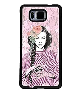 Fuson Peaceful Girl Back Case Cover for SAMSUNG GALAXY ALPHA - D4036