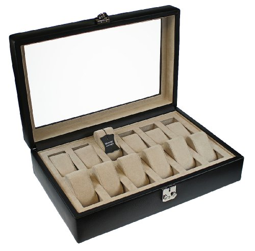 Dulwich Designs Black GENUINE Leather 12 Piece Watch Box with Cream Lining Perfect For Breitling Omega Cartier Rolex Tag Heuer Tissott Longines Rotary etc