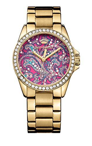 Juicy Couture Laguna-Orologio da donna al quarzo con Display analogico, colore: viola/oro 1901424 Bracciale in oro rosa