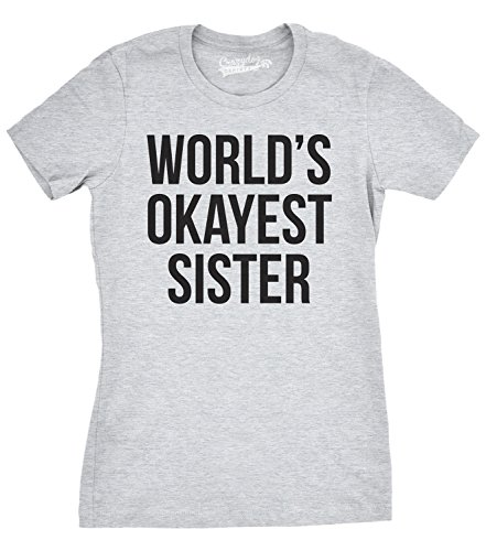 Women's World's Okayest Sister T Shirt Funny Siblings Tee for Girls XL (Dog Big Sister Shirt compare prices)