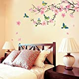 UberLyfe Pink and Peach Flower with Blue Bird Wall Sticker (Wall Covering Area: 74cm x 133cm)