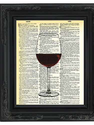 Dictionary Art Print Red Wine Glass Printed On Recycled
