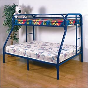 Gavin Twin over Full Metal Bunk Bed in Blue by Home Line Furniture