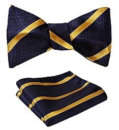 SetSense Men\'s Stripe Jacquard Woven Self Bow Tie Set One Size Navy Blue / Yellow