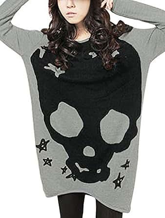 Allegra K Woman Pullover Long Sleeve Skull Print Loose Tunic Top