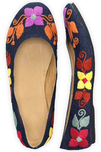 Guie Shoes Denim Floral Fields Hand Embroidered Ballet Flats