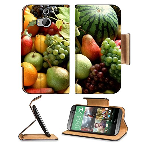Fruit Food Watermelon Grapes Tropical Htc One M8 Flip Case Stand Magnetic Cover Open Ports Customized Made To Order Support Ready Premium Deluxe Pu Leather 6 4/16 Inch (158Mm) X 3 4/16 Inch (82Mm) X 9/16 Inch (14Mm) Liil Htc1 Cover Professional M 8 Cases front-759559
