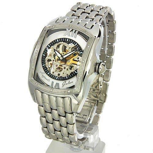 Auguste Galan MECCANIX Mens Stainless Steel Mechanical Skeleton Watch. Model AG-0610