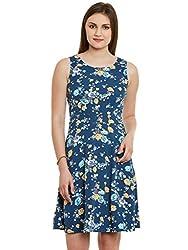 Blue Floral Print Poly Crepe Dress