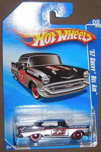 HOT WHEELS 05/10 '10 HW PERFORMANCE '57 CHEVY BEL AIR EDELBROCK BLACK & SILVER WITH RED RIMS