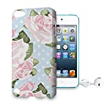 Pink Roses on Blue Polka Dots Phone Hard Shell Case for Apple iPhone 6 Plus 5S 5C 5 4 iPod & more - Apple iPod Touch 5