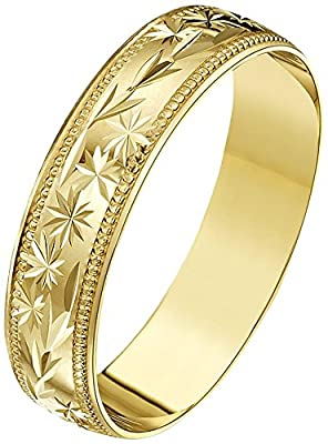 Theia 9ct Gold - Heavy Weight - D Shape with Centre Stars And Leaves Design and Millgrain Edges Wedding Ring
