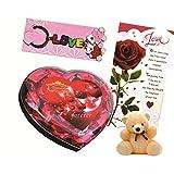 Skylofts Cute Chocolate Valentine's Heart With A Cute Teddy, A Love Card & A Love Key Ring