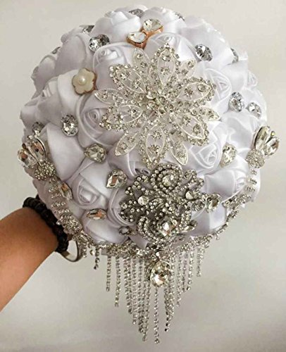 Wedding Bridal Bouquet ,Bride Holding Flowers , Water Drops (All white)