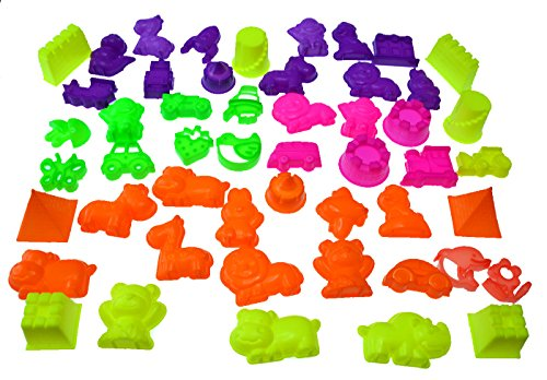 50 Piece Deluxe Kinetic Sand Molds Set - Safari Animals, Mini Castles and Geometric Shapes (Sand not included) Compatible with Sands Alive!, Kinetic Sand, Brookstone Sand, Moon Sand, Any Molding Sand - 51cvwPT4FUL - 50 Piece Deluxe Sand Molds Set – Safari Animals, Mini Castles and Geometric Shapes (Sand Not Included)