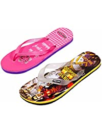 Indistar Step Care Rubber Printed Footwear (Set Of 2 )- 1 For Boy And 1 For Girl-Pink/Multi