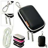 New first2savvv outdoor heavy duty black camera case for Samsung ST500 with white camera hand strap