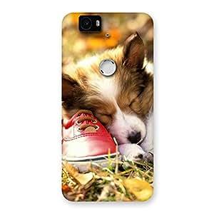 Ajay Enterprises Fill Cute Sleeping Puppy Back Case Cover for Google Nexus-6P