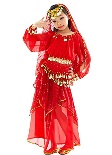 AveryDance Children's Indian Belly Dance Top and Paillette Skirt 7 Pieces Costume