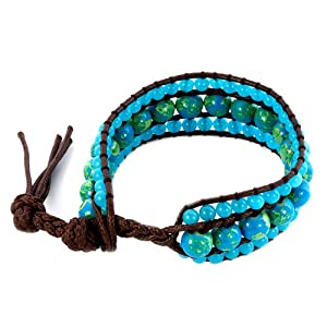 Pugster Green Against Aquamarine Blue Stone Double Crystal Wrap Brown Leather Chan Luu Bracelet