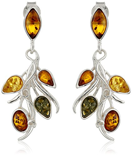 Sterling Silver Multicolored Amber Floral Earrings