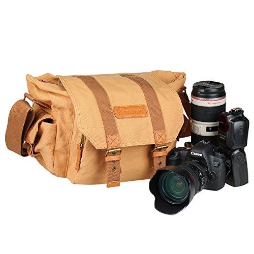 TARION® カメラ バッグ 一眼レフ カメラポーチ カメラケース カメラ・レンズ保護用 ソフトなクッションボックス 付き アウトドア撮影に 防水仕様 軽量 おしゃれ ショルダー 帆布 キャンバス素材 iPad収納可能 (イエロー)